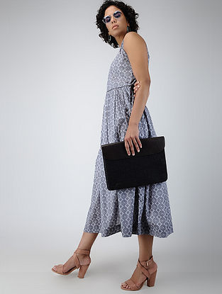 Grey Printed Cotton Dress with Gathers