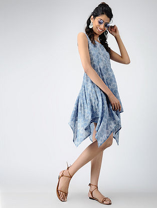 Blue Printed Cotton Dress