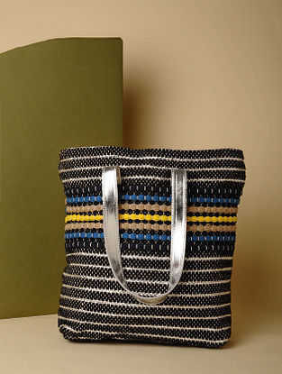 Black Silver Handcrafted Recycled Cotton Tote Bag