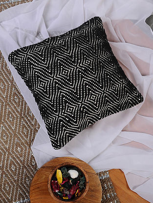 Black and White Hand Woven Cotton Cushion Cover