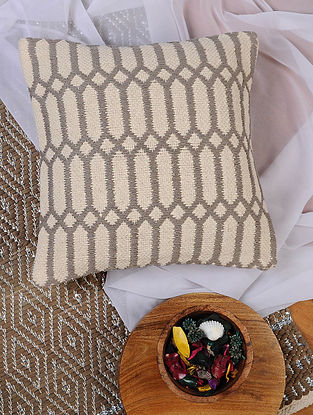 Grey and White Hand Woven Cotton Cushion Cover