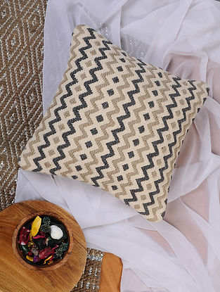 Beige and White Hand Woven Cotton Cushion Cover