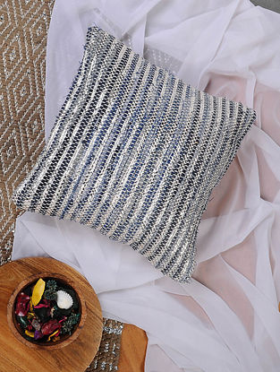 Blue and Silver Hand Woven Recycled Fabric Cushion Cover