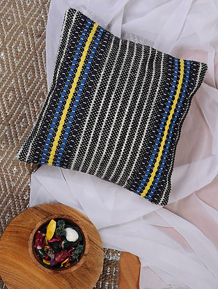 Black-Multicolored Hand Woven Recycled Fabric Cushion Cover