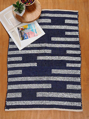 Blue and Silver Hand Woven Recycled Fabric Rug (36.5in x 25.5in)