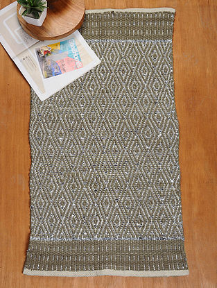 Brown and Silver Hand Woven Recycled Fabric Rug (36.5in x 22.5in)