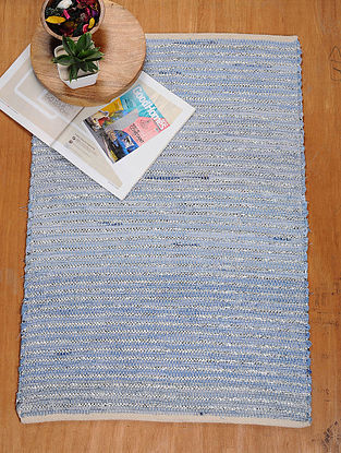 Blue and Silver Hand Woven Recycled Fabric Rug (36.5in x 25in)