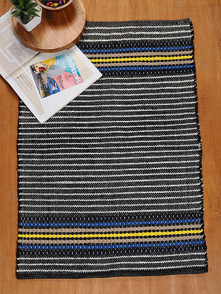 Black-Multicolored Hand Woven Recycled Fabric Rug (36in x 25in)
