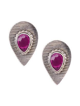 Maroon Silver Earrings