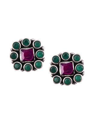 Green Maroon Silver Stud Earrings