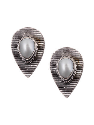 Silver Stud Earrings with Pearls