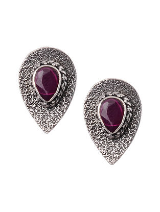 Maroon Silver Stud Earrings