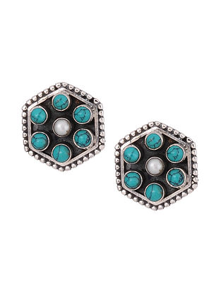 Turquoise and Pearl Silver Stud Earrings