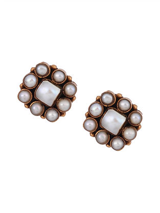 Gold Tone Silver Stud Earrings with Pearls