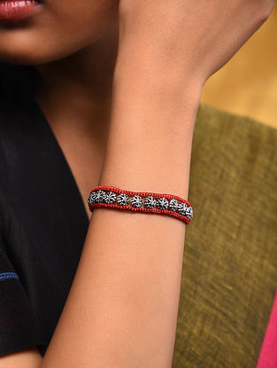 Red Thread Tribal Silver Bracelet