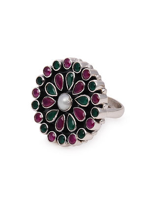 Maroon Green Silver Adjustable Ring with Pearl
