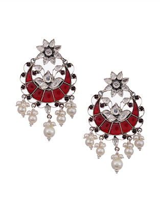Red Kundan Silver Earrings with Pearls