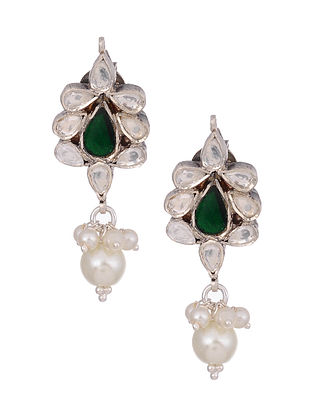 Green Kundan Silver Earrings with Pearls