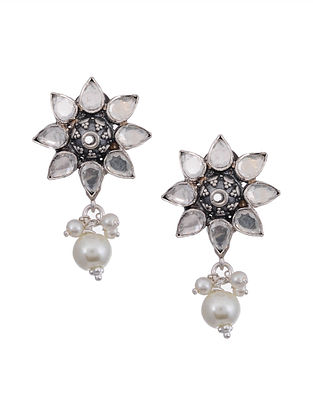 Kundan Silver Earrings with Pearls