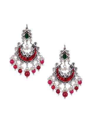 Maroon Green Kundan Silver Earrings with Pearls