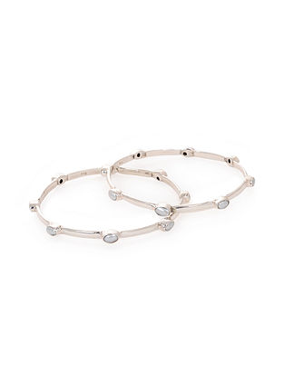 Classic Silver Bangles with Pearls (Set of 2)