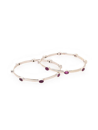 Maroon Silver Bangles (Set of 2)