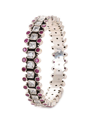 Maroon Silver Bangle