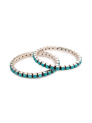 Silver Bangles with Turquoise (Set of 2)