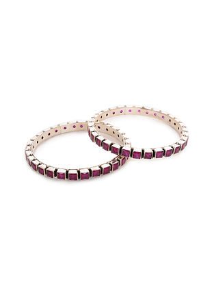 Silver Bangles with Ruby (Set of 2)
