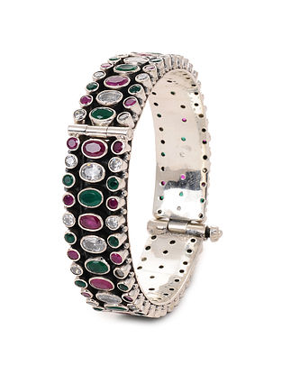 Maroon Green Silver Hinged Opening Bangle