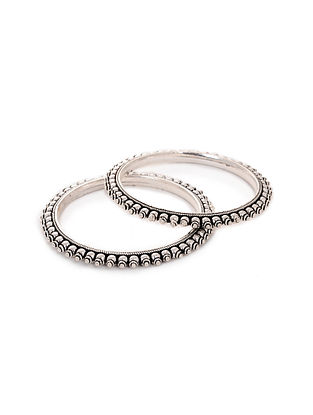 Tribal Silver Bangles (Set of 2)