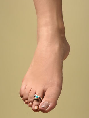 Silver Adjustable Toe Rings with Turquoise (Set of 2)