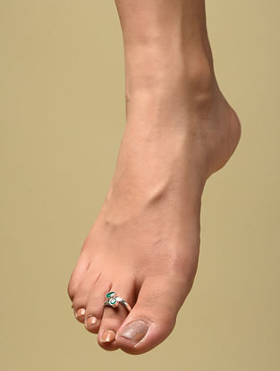 Green Silver Adjustable Toe Rings (Set of 2)
