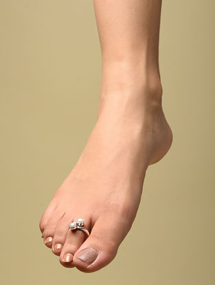 Silver Adjustable Toe Rings with Pearls (Set of 2)