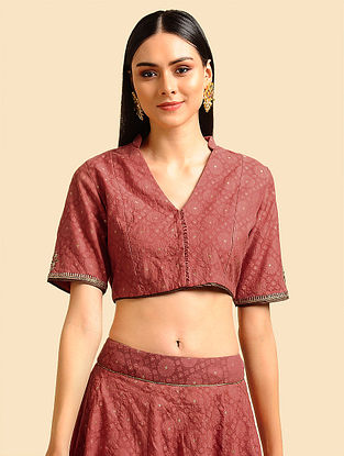 Red Silk Cotton Cutwork Blouse with Hand Embroidery