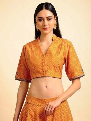 Yellow Silk Cotton Cutwork Blouse with Hand Embroidery