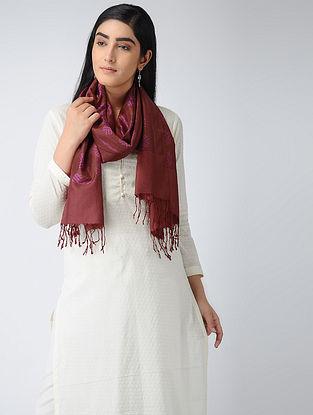Maroon-Pink Ikat Silk Stole
