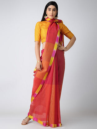 Orange-Pink Missing Checks Maheshwari Saree