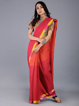Red-Pink Missing Checks Maheshwari Saree