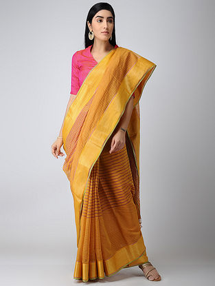 Yellow-Purple Maheshwari Saree with Zari