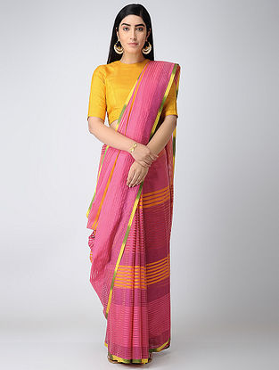 Pink-Yellow Missing Striped Cotton Silk Saree