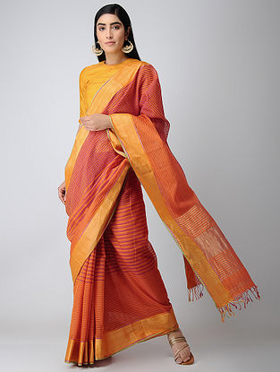 Red-Orange Maheshwari Saree with Zari