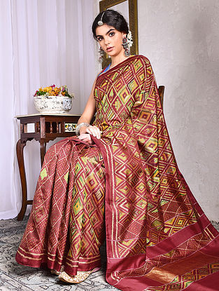 Red-Yellow Ikat Tussar Silk Saree