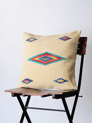 Beige Hand-woven Cotton Kilim Cushion Cover (18in x 18in)
