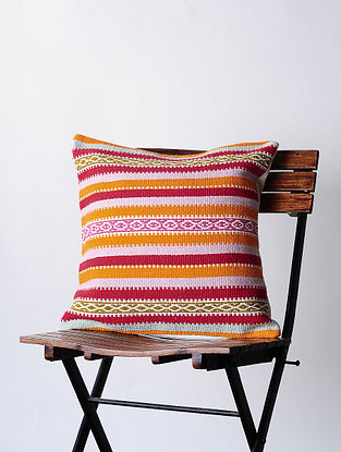 Red-Orange Hand-woven Cotton Kilim Cushion Cover (18in x 18in)