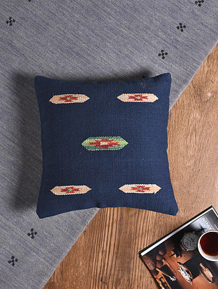 Blue Hand-woven Cotton Kilim Cushion Cover (18in x 18in)