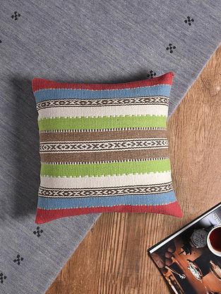 Multicolored Hand-woven Cotton Kilim Cushion Cover (18in x 18in)