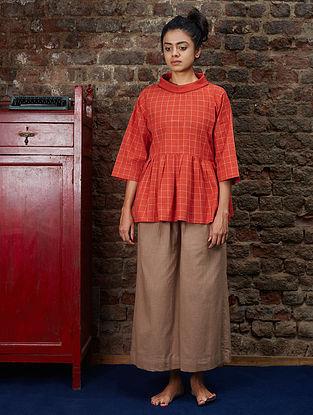 Orange Checkered Handwoven Khadi Top