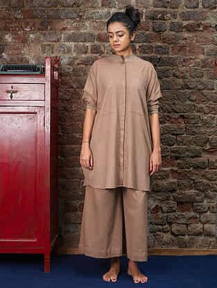 Khaki Handwoven Khadi Shirt