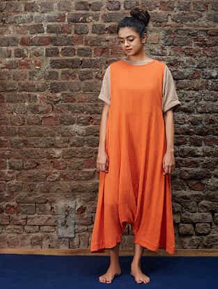 Orange Handwoven Khadi Dungarees